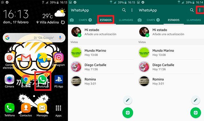 Cambiar privacidad de estado WhatsApp Paso 1