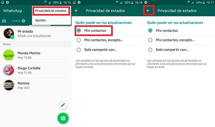 Cambiar privacidad de estado WhatsApp Paso 2