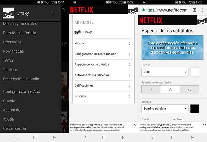Cambiar subtitulos Netflix