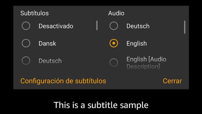 Cambiar subtitulos e idiomas Amazon Prime