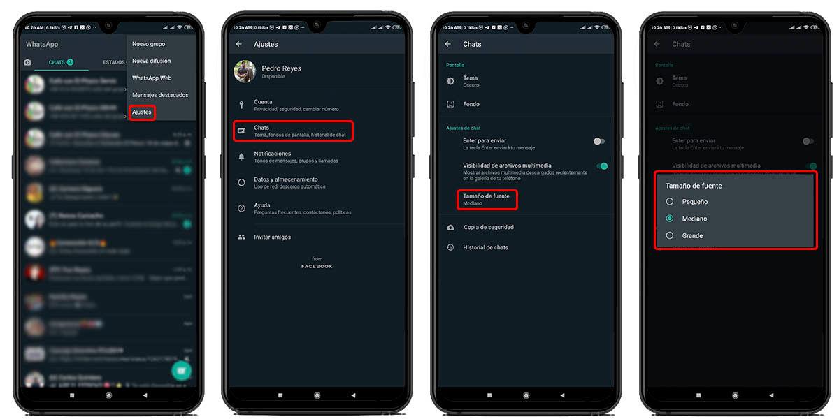 Cambiar tamaño de letra de whatsapp desde la aplicación