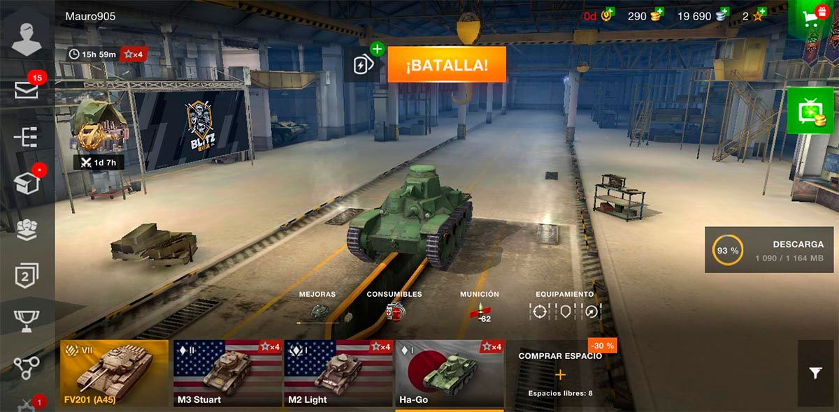 Cambiar tanque en World of Tanks Blitz