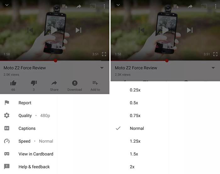 Cambiar velocidad youtube android