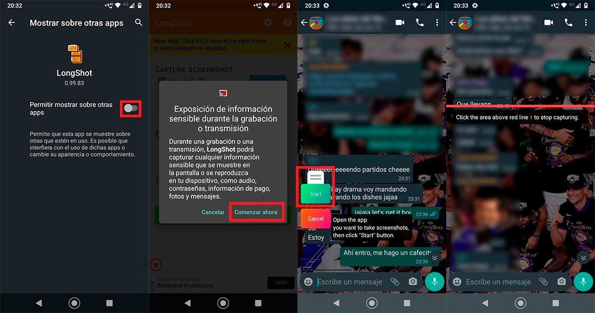 Capturar toda la pantalla WhatsApp con LongShot