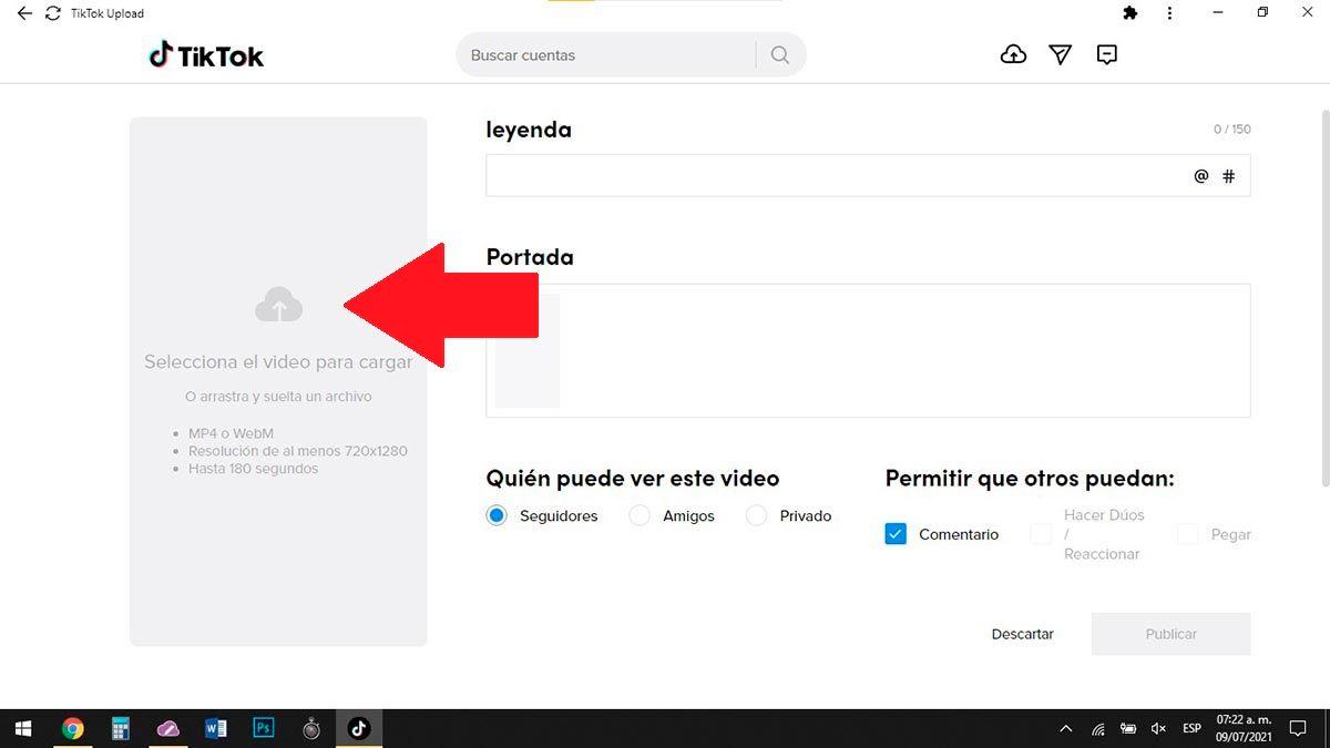 Cargar video a TikTok desde el PC