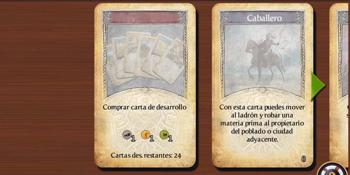 Cartas en el juego Catán