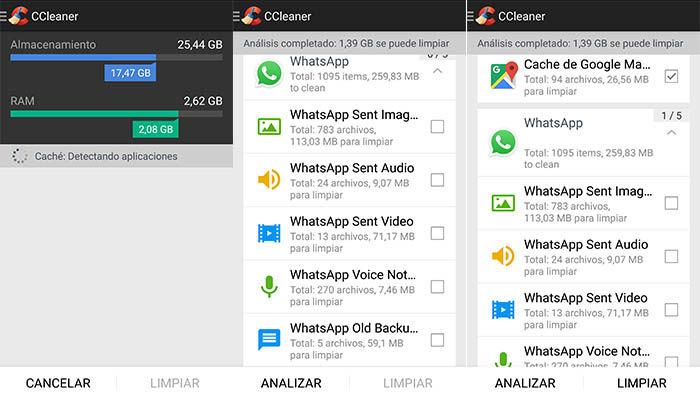 Ccleaner limpiar WhatsApp