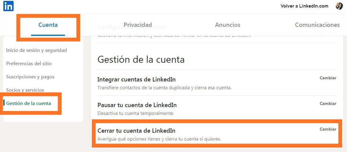 Cerrar cuenta en LinkedIn