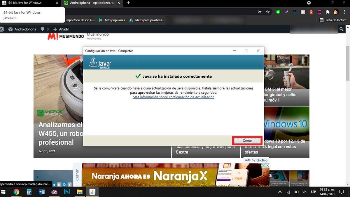 Cerrar instalador Java
