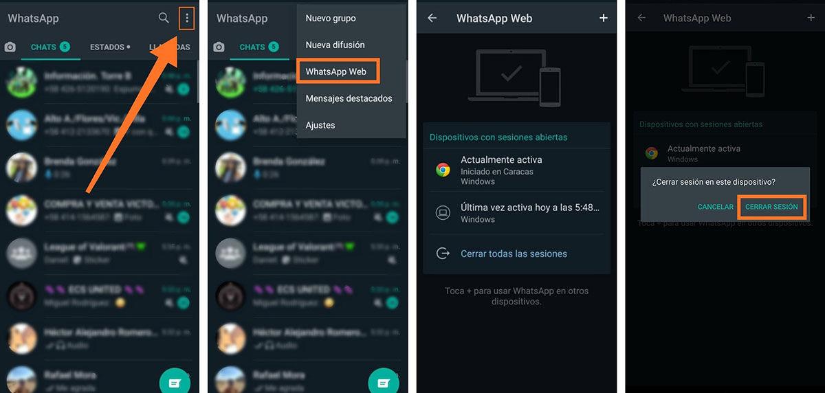 Cerrar sesion en WhatsApp desde el movil