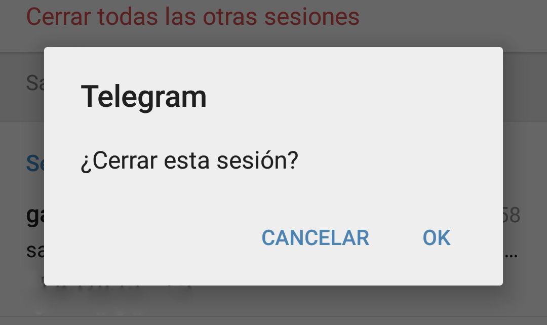 Cerrar sesiones activas en Telegram