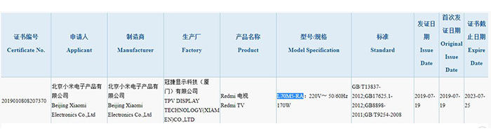 Certificaicion Redmi TV