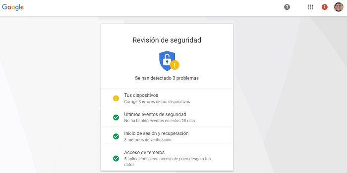 Chequeo de seguridad Google