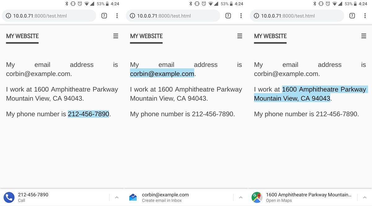 Chrome atajos para usar numeros de telefonos, correos o direcciones
