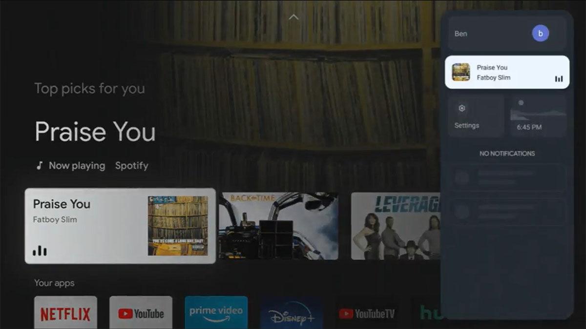 Chromecast con google tv menú lateral