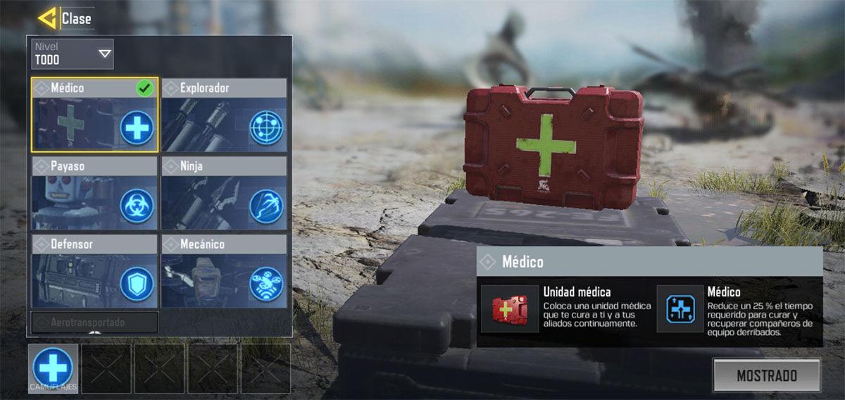Clase medico Battle Royale COD Mobile
