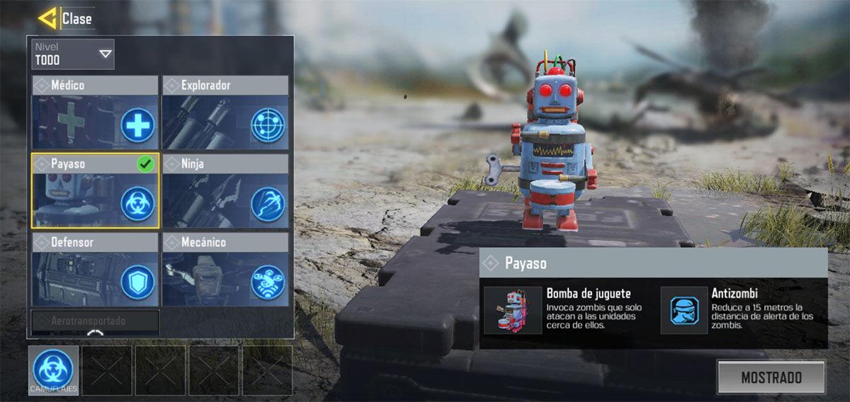 Clase payaso Battle Royale COD Mobile