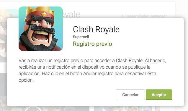 registrar clash royale en google play