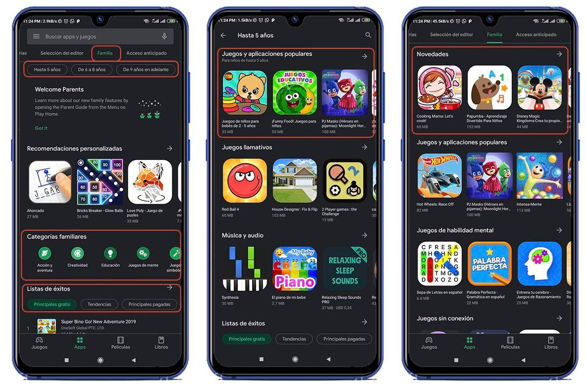 Clasificacion familiar apps tienda Google