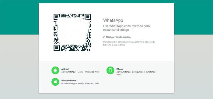 Codigo QR para usar la version web de whatsapp