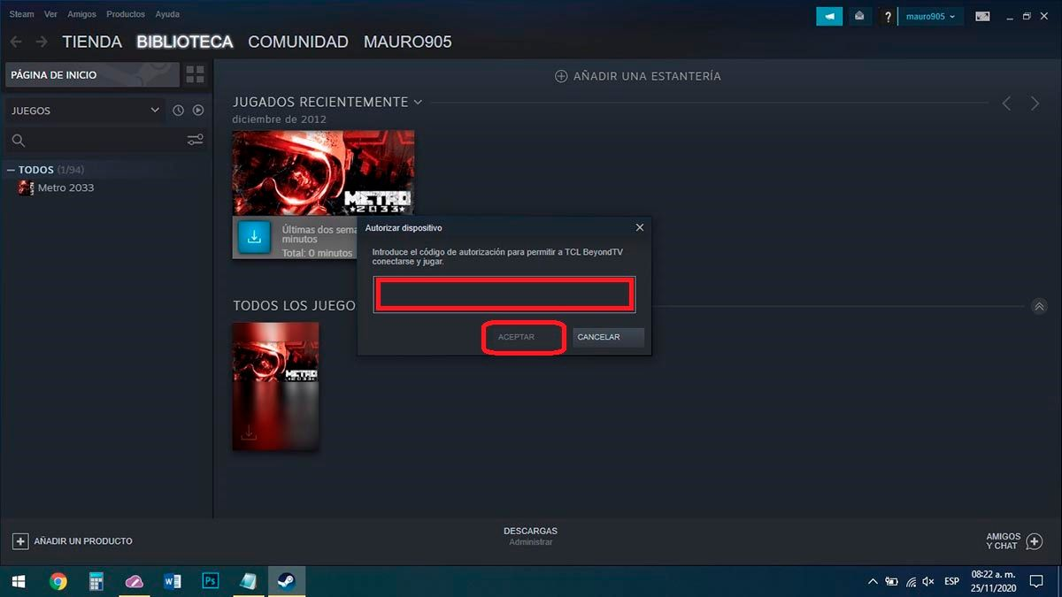 Codigo de autorizacion Steam Link