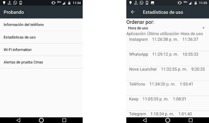 Código secreto ver más información en Android