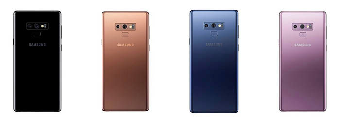 Colores Galaxy Note 9