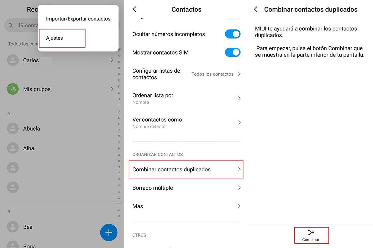 Combinar contactos Xiaomi