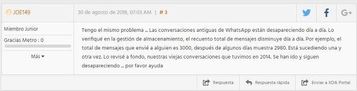 Comentario de usuario que ha visto la eliminación de mensajes antiguos en WhatsApp
