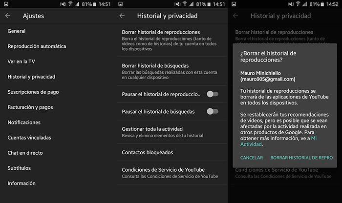 Como Borrar historial de YouTube en Android Paso 2