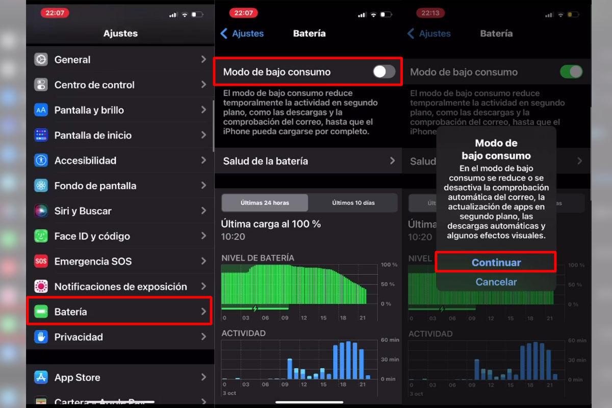 Cómo activar el modo de ahorro de batería en iPhone 13 con iOS 15