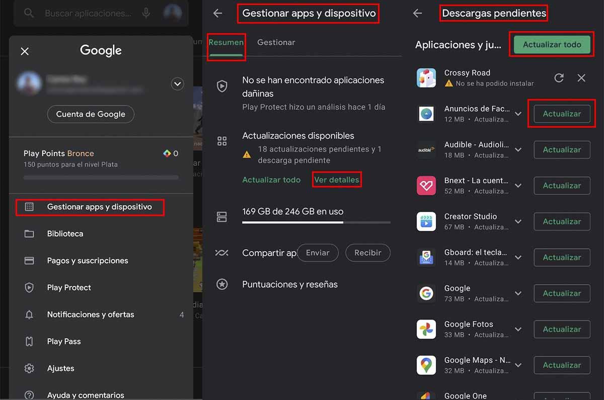 Cómo actualizar apps en la última versión de Google Play