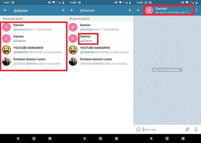 Como anadir contactos sin numero de telefono en Telegram Paso 2