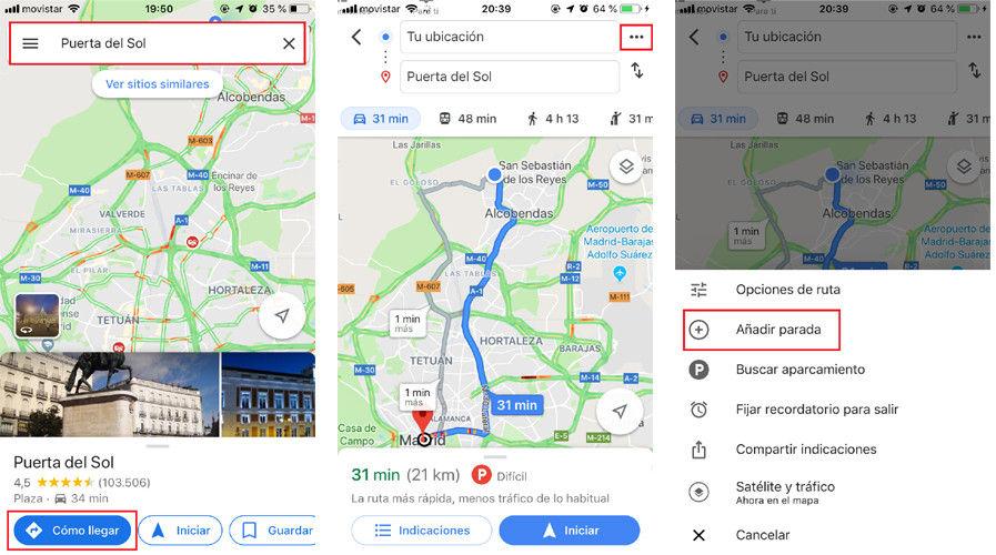 Cómo añadir paradas a una ruta en Google Maps