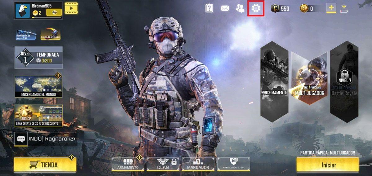 Como cambiar de cuenta Call of Duty Mobile paso 1