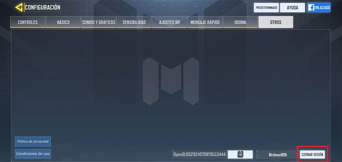 Como cambiar de cuenta Call of Duty Mobile paso 3