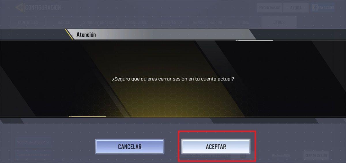 Como cambiar de cuenta Call of Duty Mobile paso 4