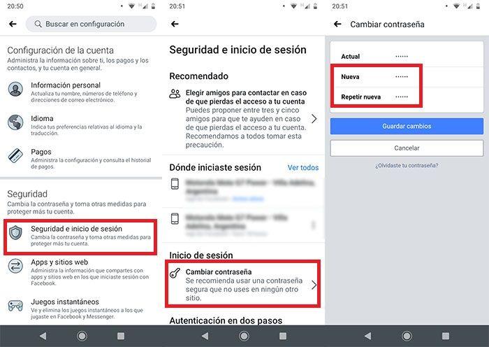 Como cambiar la contrasena en Facebook desde Android