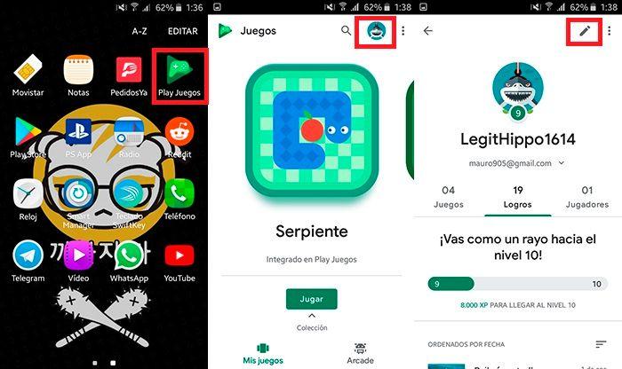 Como cambiar nombre de usuario Google Play Juegos Paso 1