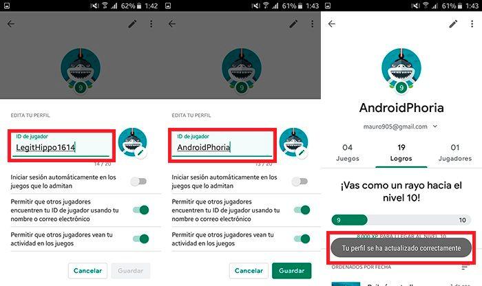 Como cambiar nombre de usuario Google Play Juegos Paso 2
