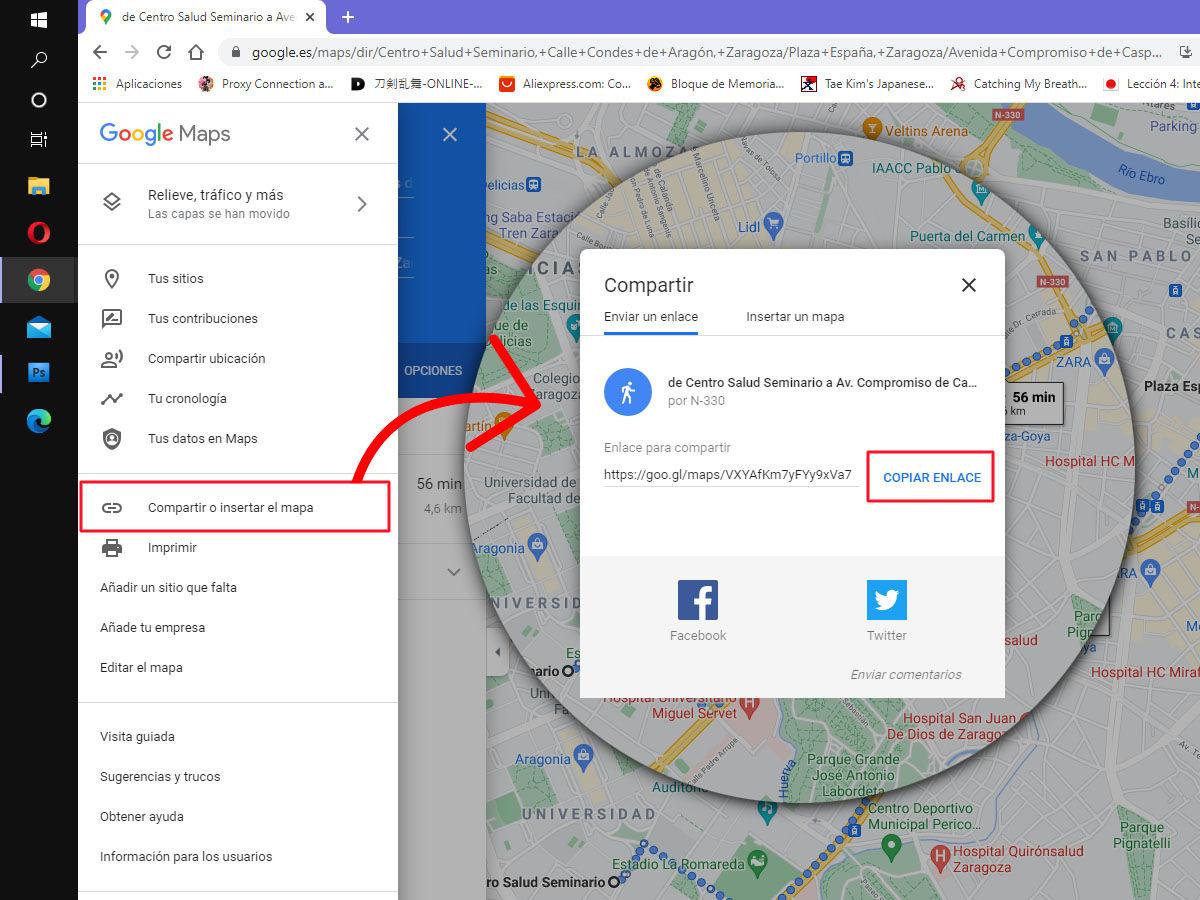 Cómo compartir un itinerario de varias rutas con Google Maps web
