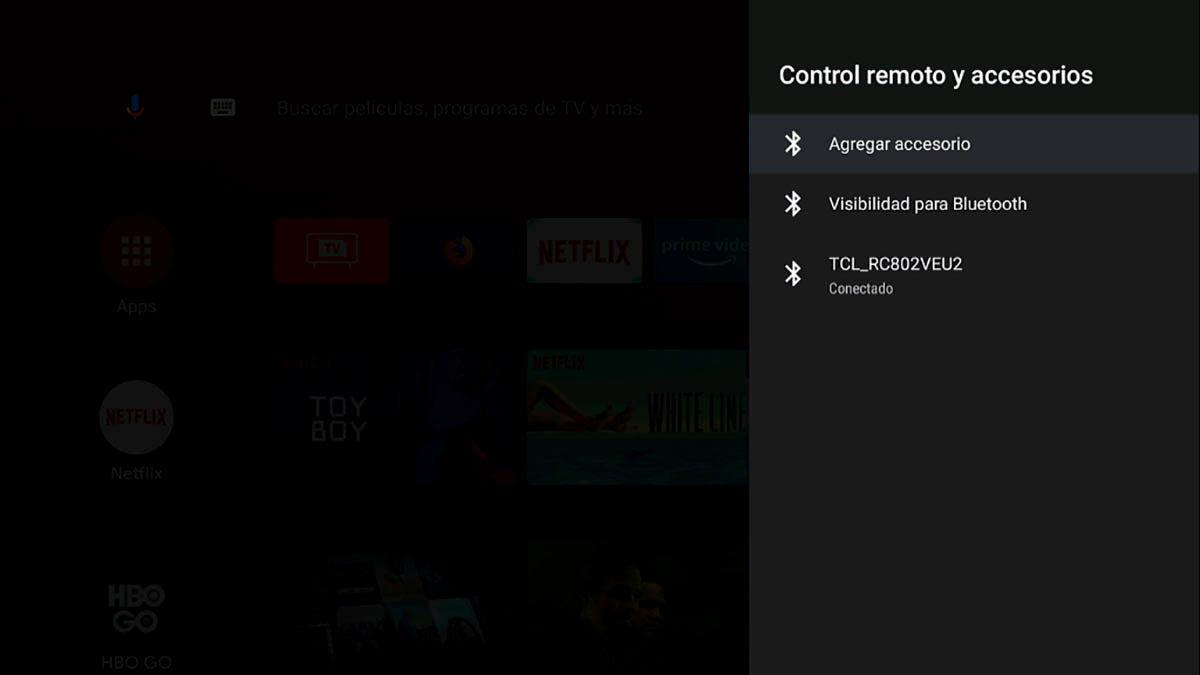 Como conectar un accesorio Bluetooth en Android TV
