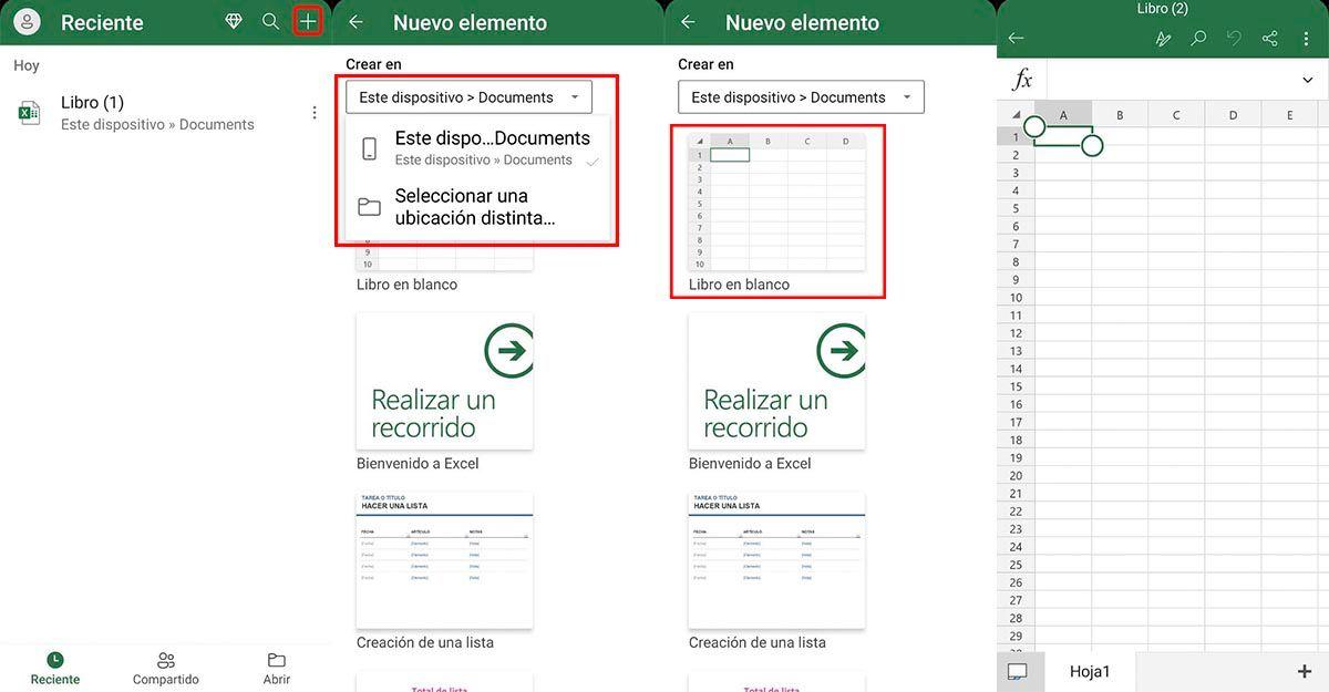 Cómo crear archivos app Excel Android