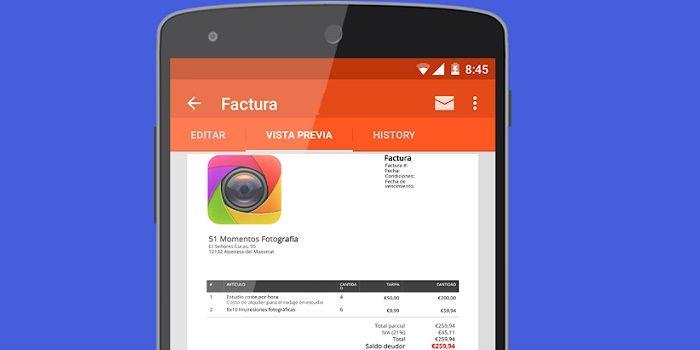Cómo crear facturas desde el móvil Android