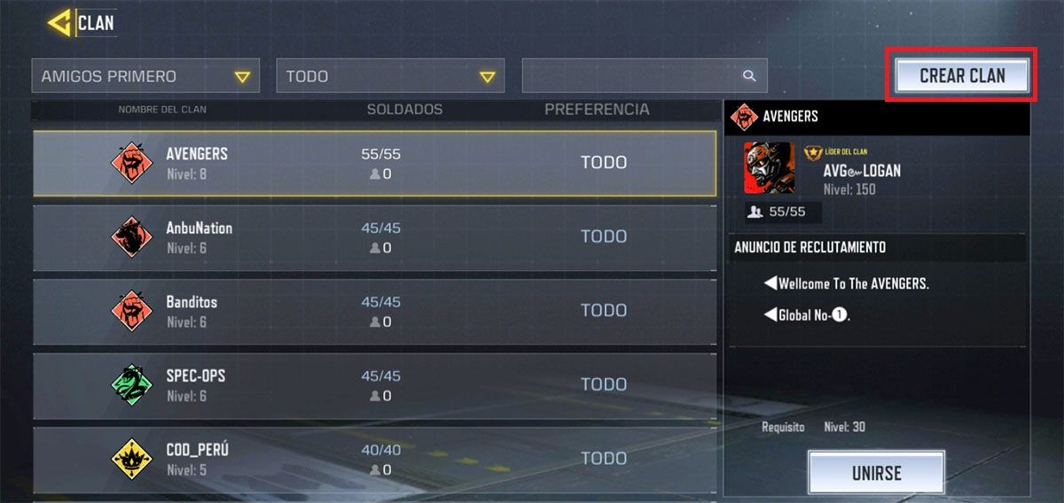 Como crear un clan Call of Duty Mobile paso 2