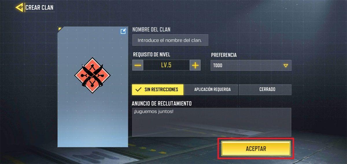 Como crear un clan Call of Duty Mobile paso 3