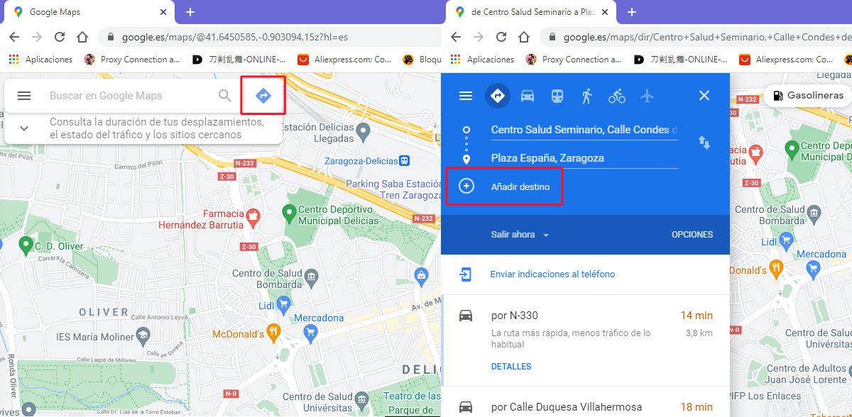 Cómo crear una ruta de más de una parada en Google Maps desde el ordenador
