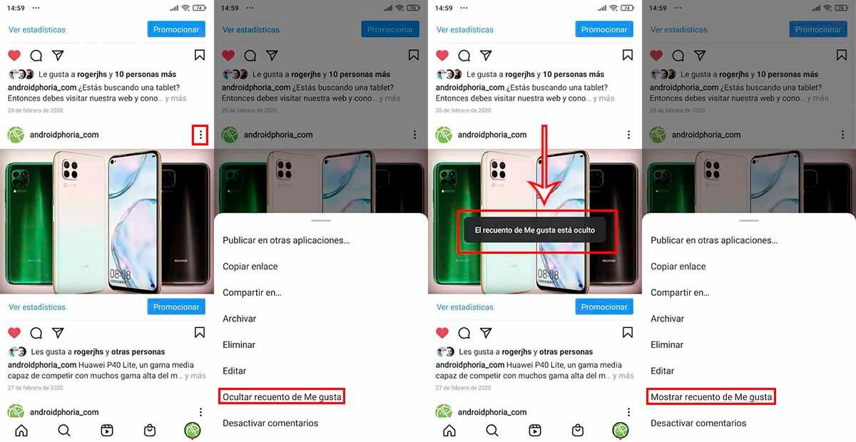 Cómo desactivar el recuento de likes en Instagram