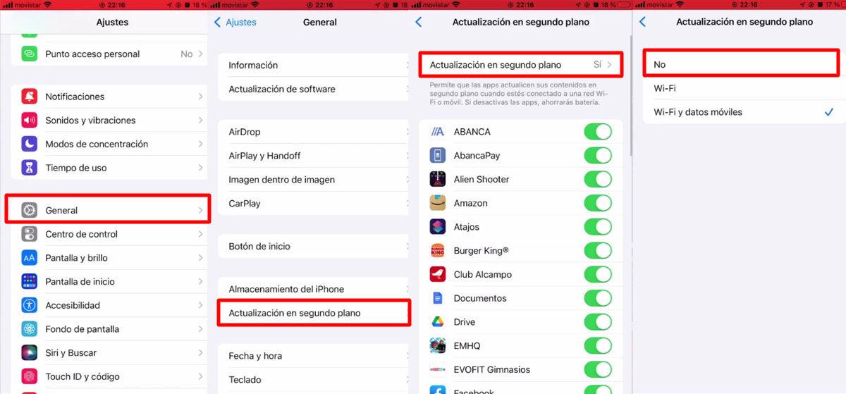 Cómo desactivar la actualización de apps en segundo plano desde tu iPhone 13