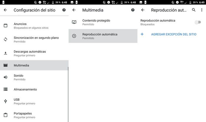 Como desactivar la reproduccion automática de video Chrome